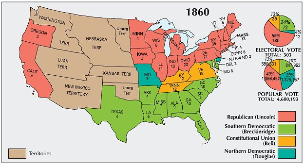 Abraham Lincoln American Civil War President - Map of the us during civil war