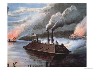 Federal Ironclad Ship on the Mississippi Bombarding Enemy Territory