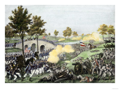 Union Troops Battling Their Way across Burnside Bridge in the Battle of Antietam