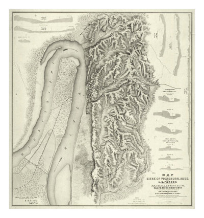 Civil War Map of The Siege of Vicksburg, Miss, c.1863