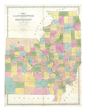 Map of Illinois and Missouri, c.1839