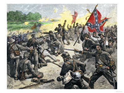 Confederate Louisiana Brigade Throwing Stones at Advancing Federal Army of the Potomac, c.1862