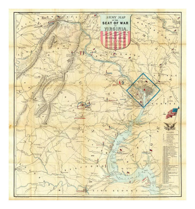 Army Map of The Seat of War In Virginia, c.1862