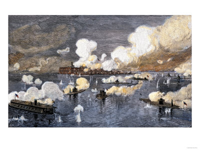 Union Fleet Bombarding Fort Sumter to Retake Charleston Harbor from the Confederates, c.1863