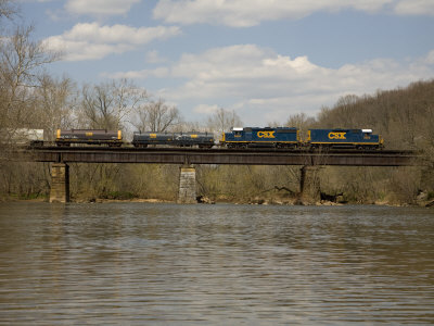 Train Crosses the Historic Monocacy River on a High Trestle