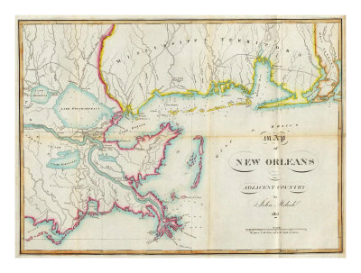 Map of New Orleans and Adjacent Country, c.1815