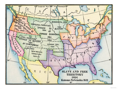 Map of Slave and Free Areas of the United States in 1854, at the Time of the Kansas-Nebraska Bill