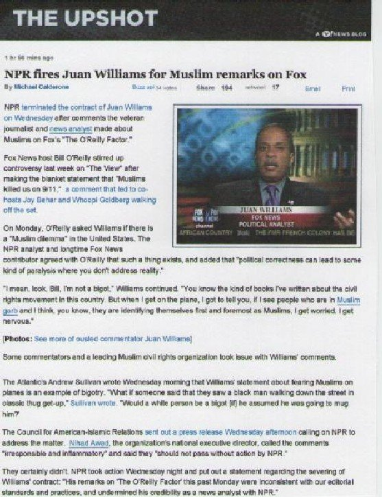 Juan Williams Fired by NPR