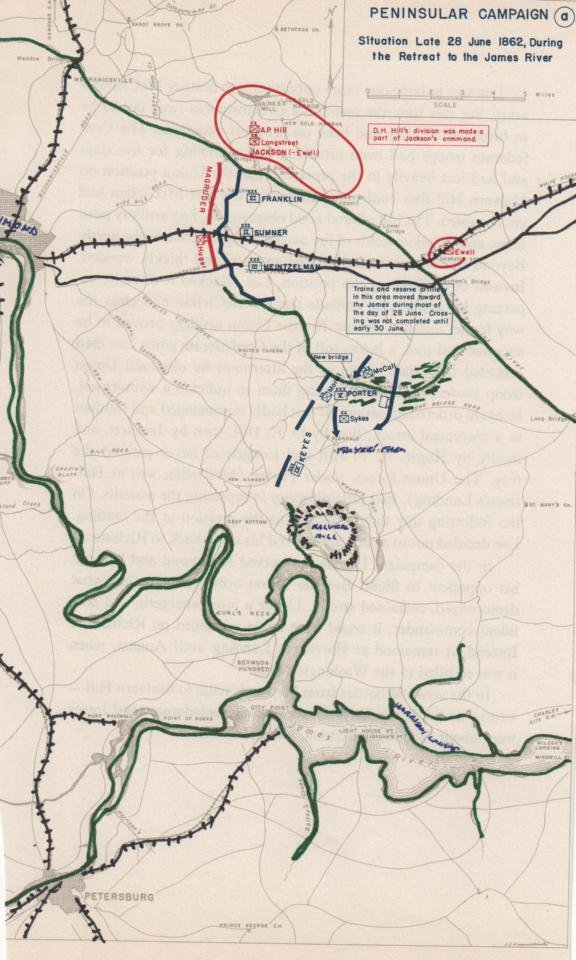 General George McClellan retreat from Seven Days battle map