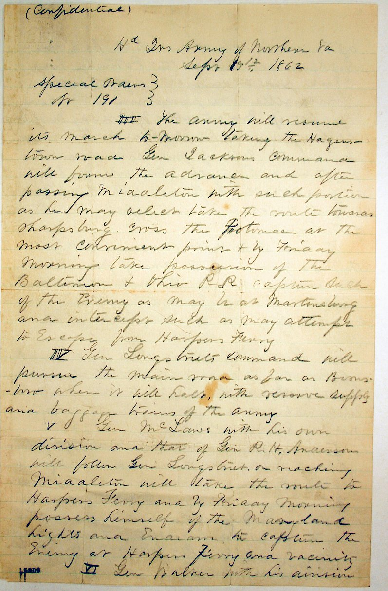 McClellan copy of Special Order 191