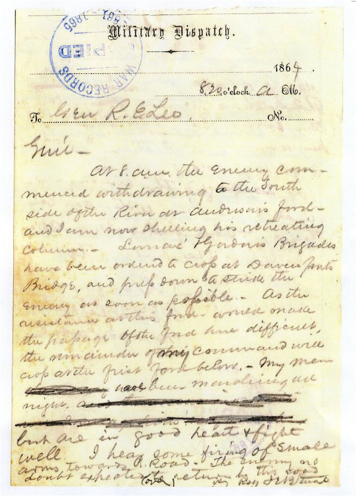 JEB Stuart Letter to Lee