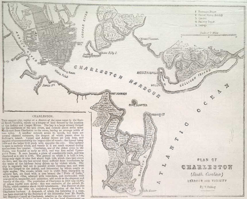 Charleston Harbor Civil War Map