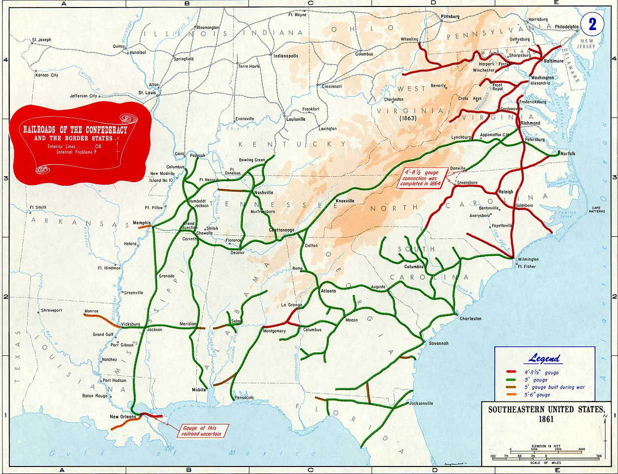 confederate states of america railroad map