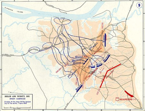 Civil War Campaign Map Shiloh TN