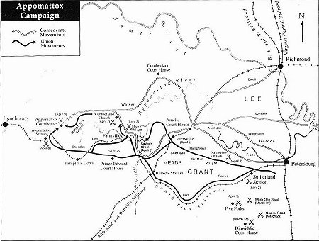 Appomattox campaign map American Civil War
