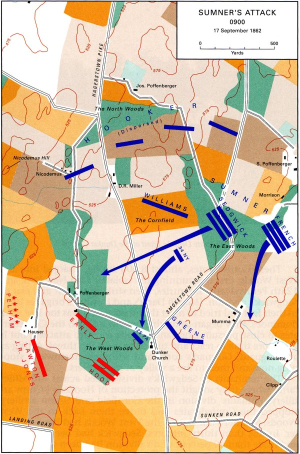 Sumner attack Antietam Civil War Map