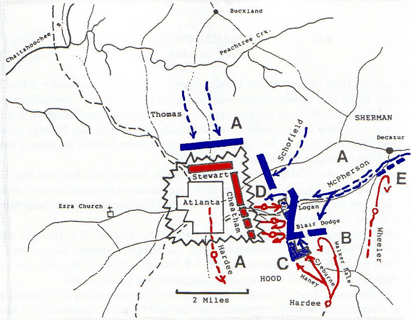 Atlanta Battle Map Sherman Hood