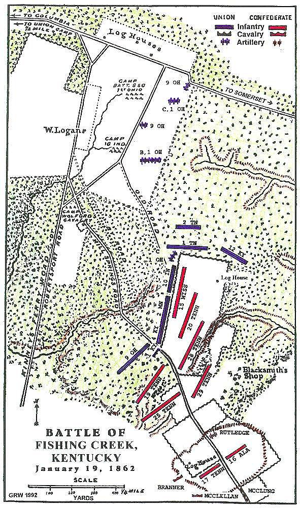 Fishing Creek Kentucky Civil War Battle Map