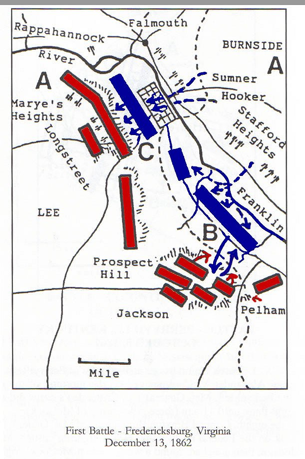 Fredericksburg Virginia Map.Civil War Battle In Virginia Fredericksburg I