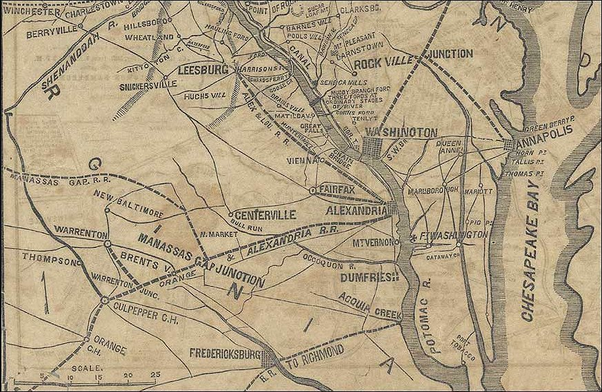 Upper Potomac River Map 1861