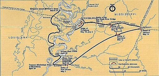 Vicksburg Civil War Battle Map