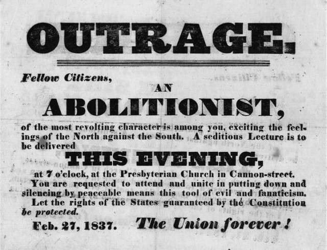 Anti Abolitionist handbill 1837