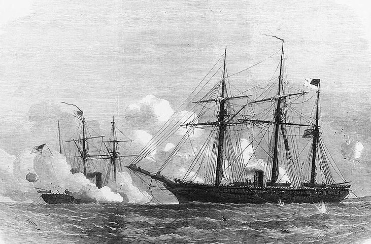 Ironclad Federal steamer USS Kearsarge Confederate steamer CSS Alabama June 1864