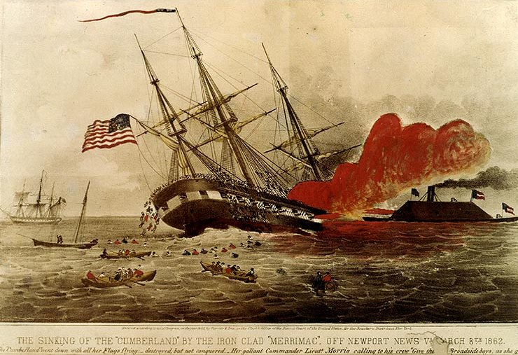 Sinking of the Cumberland Ironclad merrimac