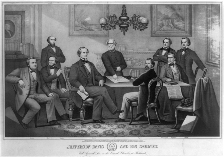 Jefferson Davis and cabinet General Lee Council Chamber Richmond