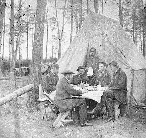 Federal officers at their Brandy Station winter camp having dinner
