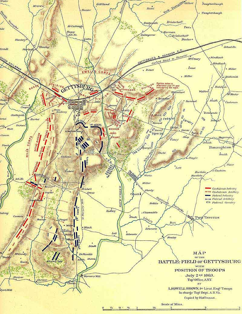 Gettysburg Pennsylvania Civil War Battle Map