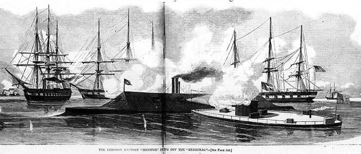 a look at the naval battle between the uss monitor and css merrimack