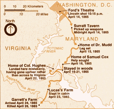 John Wilkes Booth Escape Route Map