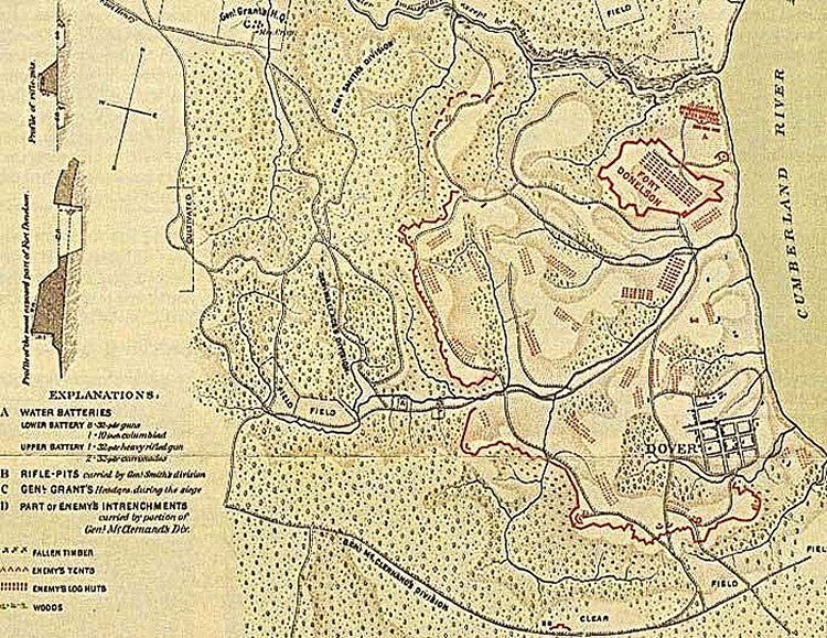 Fort Donelson Civil War Battle map