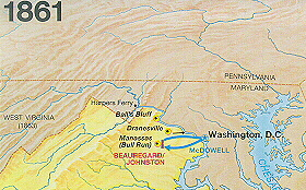 Civil War Eastern Theater Battle Map