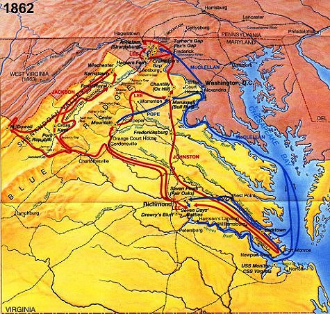 Eastern Theater Civil War 1862 campaign map