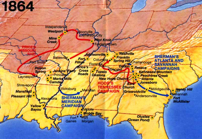 American Civil War All States Map of Battles