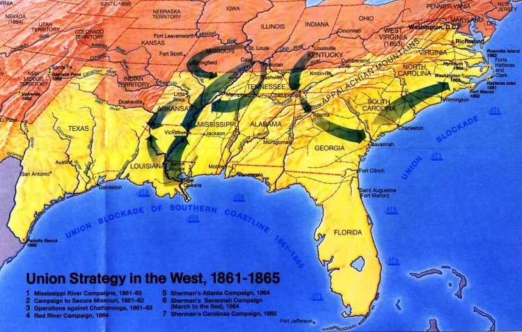 Civil War Union Strategy Map 1861 - 1865
