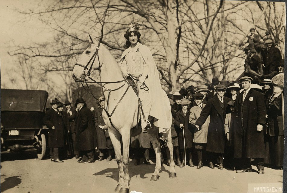 Inez Milholland Boissevain preparing to lead the suffrage parade in Washington, D.C. 1913.